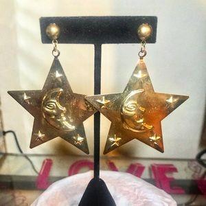 Brass Moon & Stars Earrings